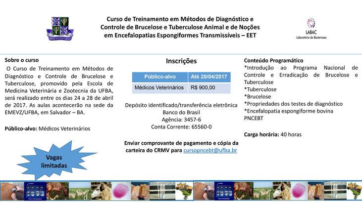 RETIFICAÇÃO: Curso de Treinamento em Métodos de Diagnóstico e Controle de Brucelose e Tuberculose Animal e de Noções em Encefalopatias Espongiformes Transmissíveis - EET