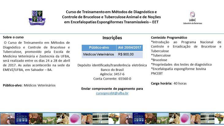 Curso de Treinamento em Métodos de Diagnóstico e Controle de Brucelose e Tuberculose Animal e de Noções em Encefalopatias Espongiformes Transmissíveis – EET