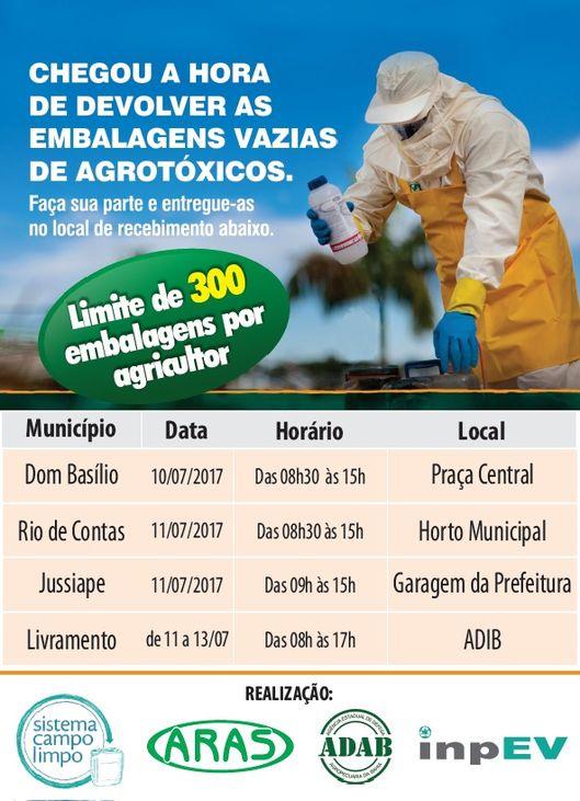 13ª CAMPANHA DE DEVOLUÇÃO DAS EMBALAGENS VAZIAS DE AGROTÓXICOS
