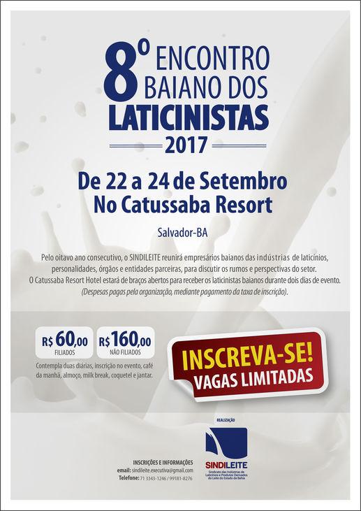 8º Encontro Baiano dos Laticinistas, de 22 a 24/09, no Catussaba Resort, Salvador-BA